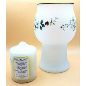 Pfaltzgraff Holly Christmas Frosted Candle Holder
